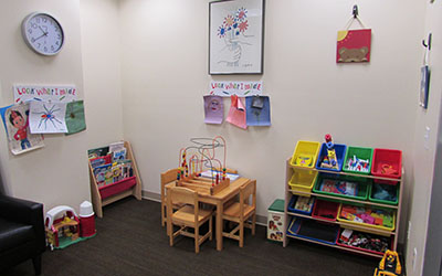 Child playroom waiting area of office